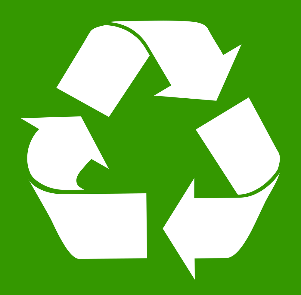 White recycling symbol isolated on green background.