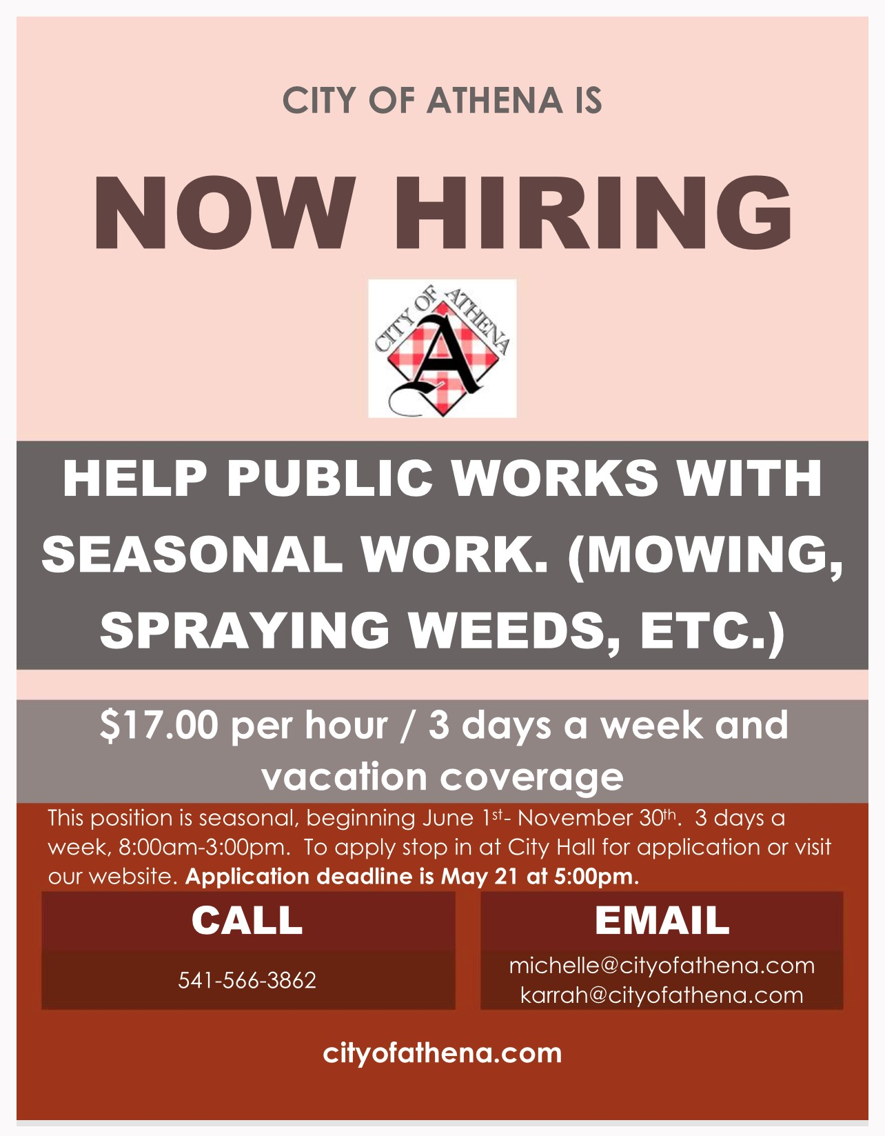 2021 Hiring for Public Work Help